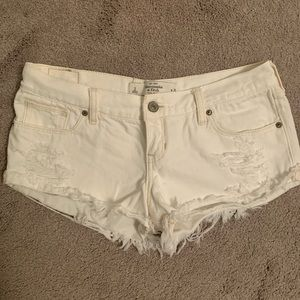 White Jean Distressed Abercrombie & Fitch Shorts